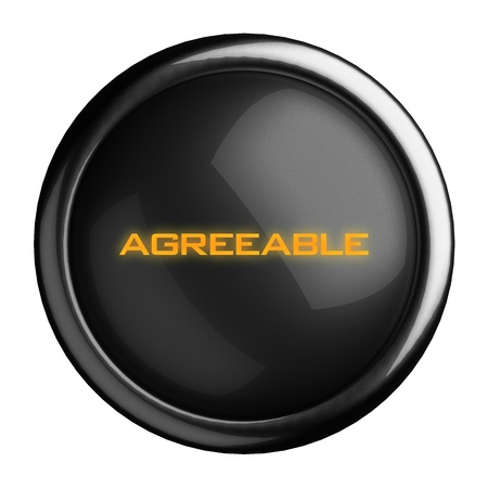 agreeable: Word on black button