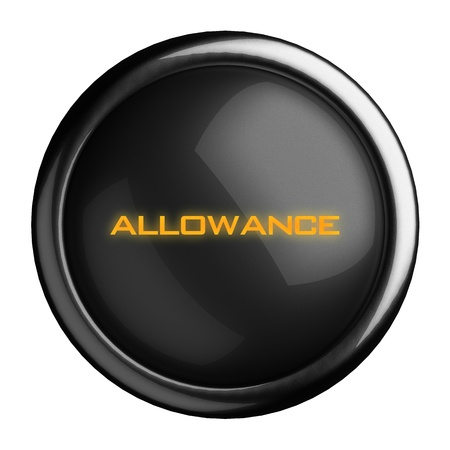 allowance: Word on black button