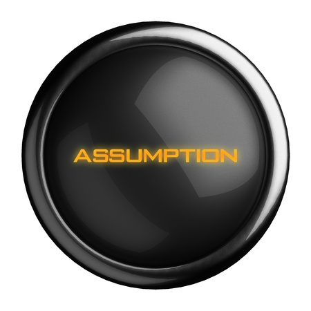 assumption: Word on black button