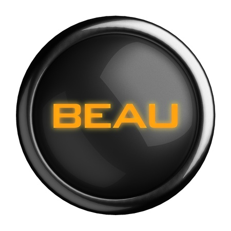 beau: Word on black button