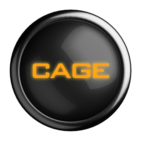 goal cage: Word on black button