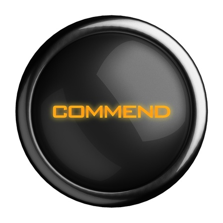 commend: Word on black button