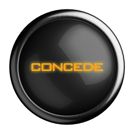concede: Word on black button