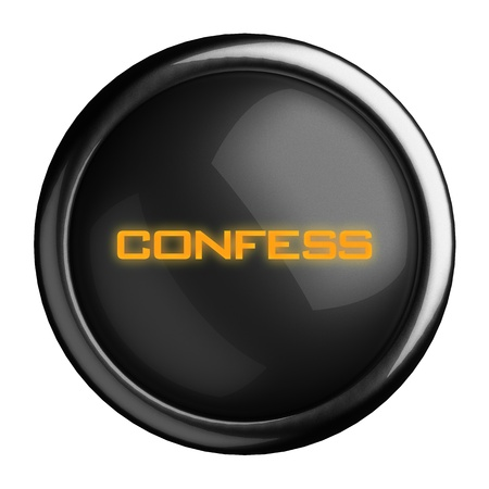 confess: Word on black button