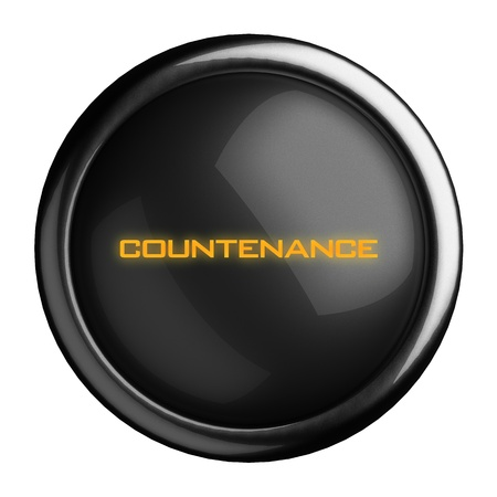 countenance: Word on black button