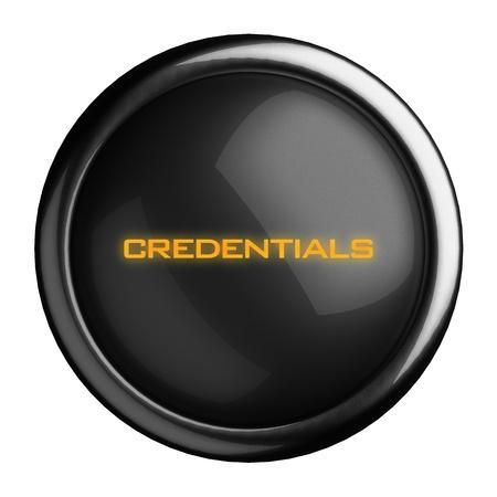 credentials: Word on black button
