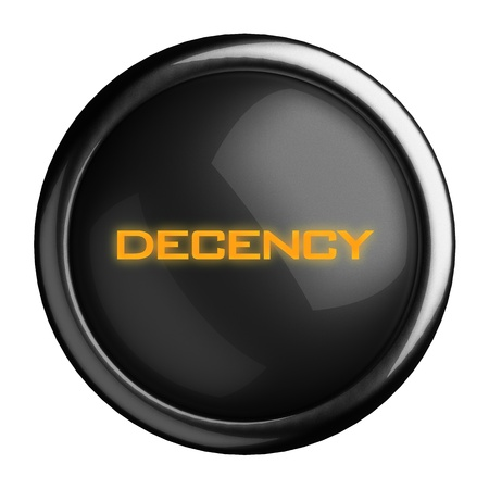 decency: Word on black button