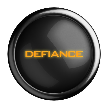 defiance: Word on black button