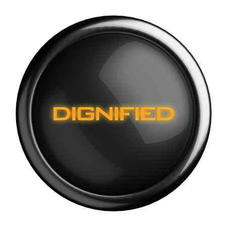 dignified: Word on black button