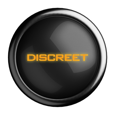 discreet: Word on black button