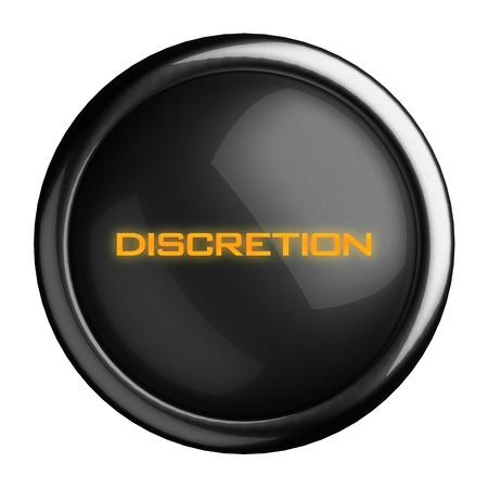 discretion: Word on black button