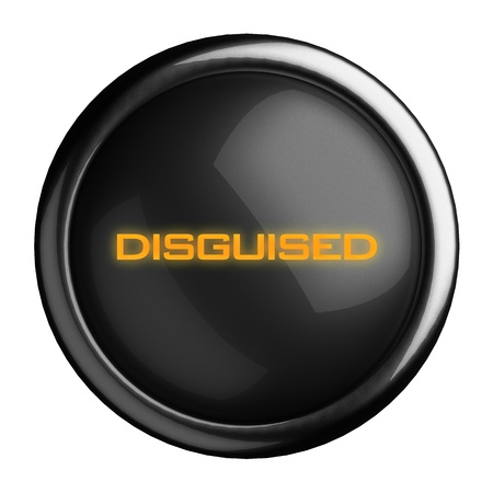 disguised: Word on black button