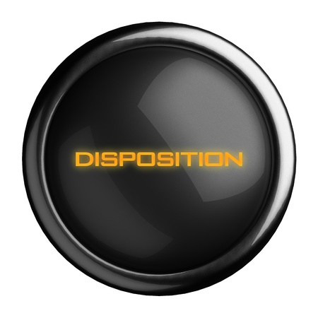 disposition: Word on black button
