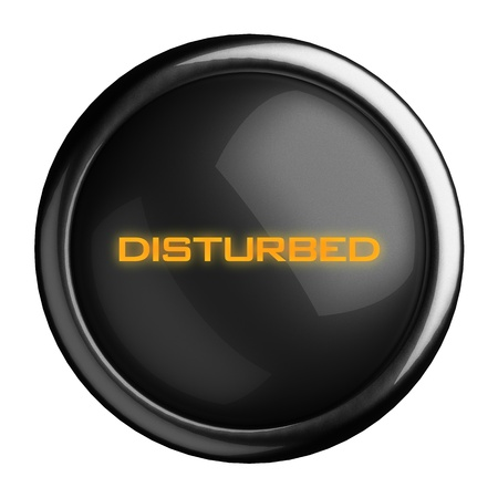 disturbed: Word on black button