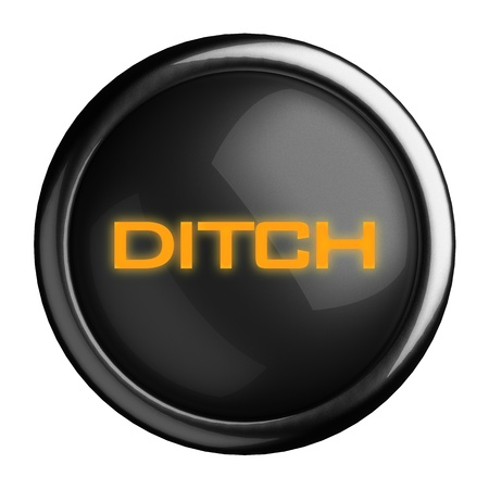 ditch: Word on black button