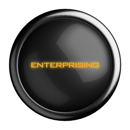 enterprising: Word on black button