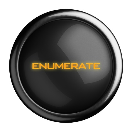 enumerate: Word on black button