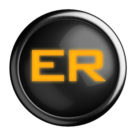 er: Word on black button