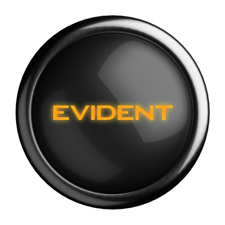 evident: Word on black button