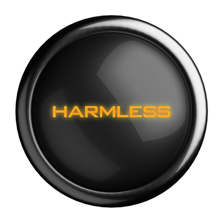 harmless: Word on black button