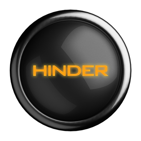 hinder: Word on black button
