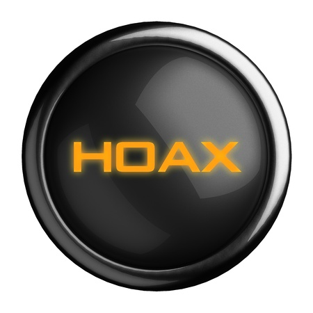hoax: Word on black button