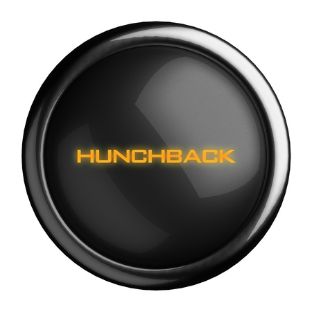 hunchback: Word on black button