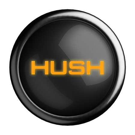 hush hush: Word on black button