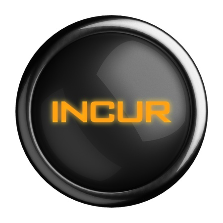 incur: Word on black button
