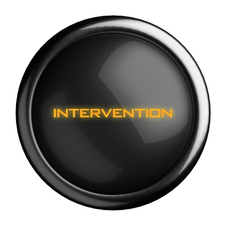 intervention: Word on black button