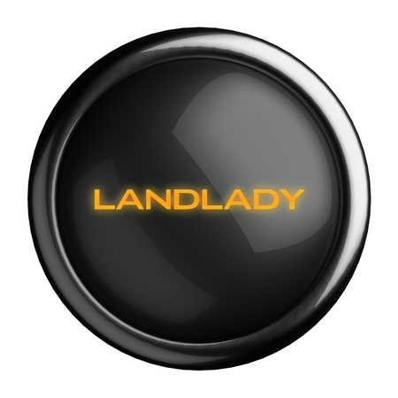 landlady: Word on black button