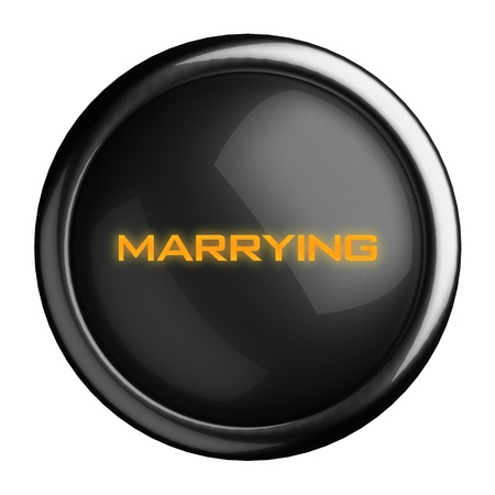 marrying: Word on black button