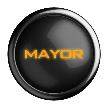 mayor: Word on black button