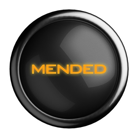 mended: Word on black button