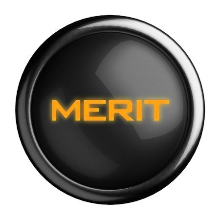 merit: Word on black button