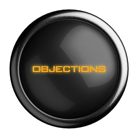 objections: Word on black button