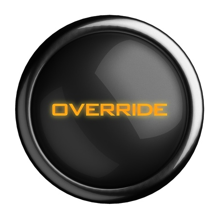 override: Word on black button