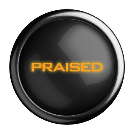 praised: Word on black button