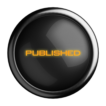 published: Word on black button