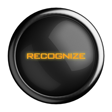 recognize: Word on black button