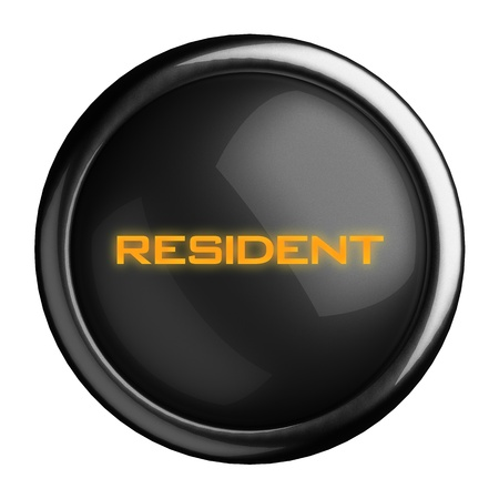 resident: Word on black button