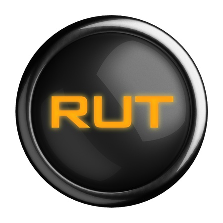 rut: Word on black button