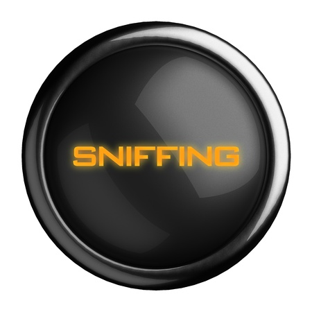 sniffing: Word on black button