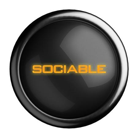 sociable: Word on black button