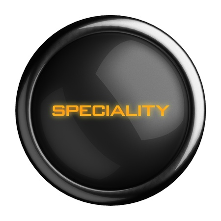 specialities: Word on black button