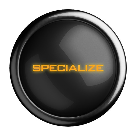 specialize: Word on black button
