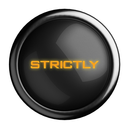 strictly: Word on black button