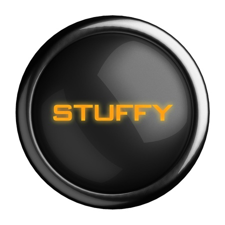 stuffy: Word on black button