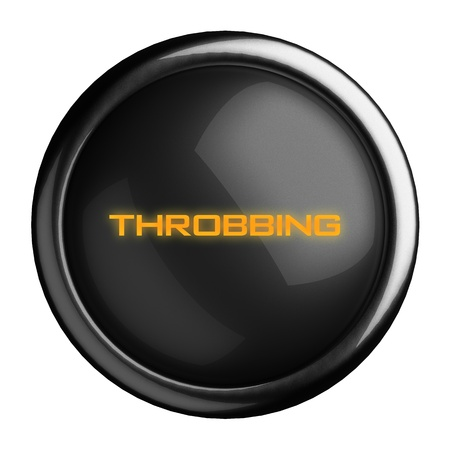 throbbing: Word on black button