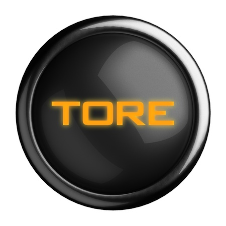 tore: Word on black button
